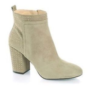 GUESS!! USHAL IVORY EMBELLISHED SUEDE BOOTS